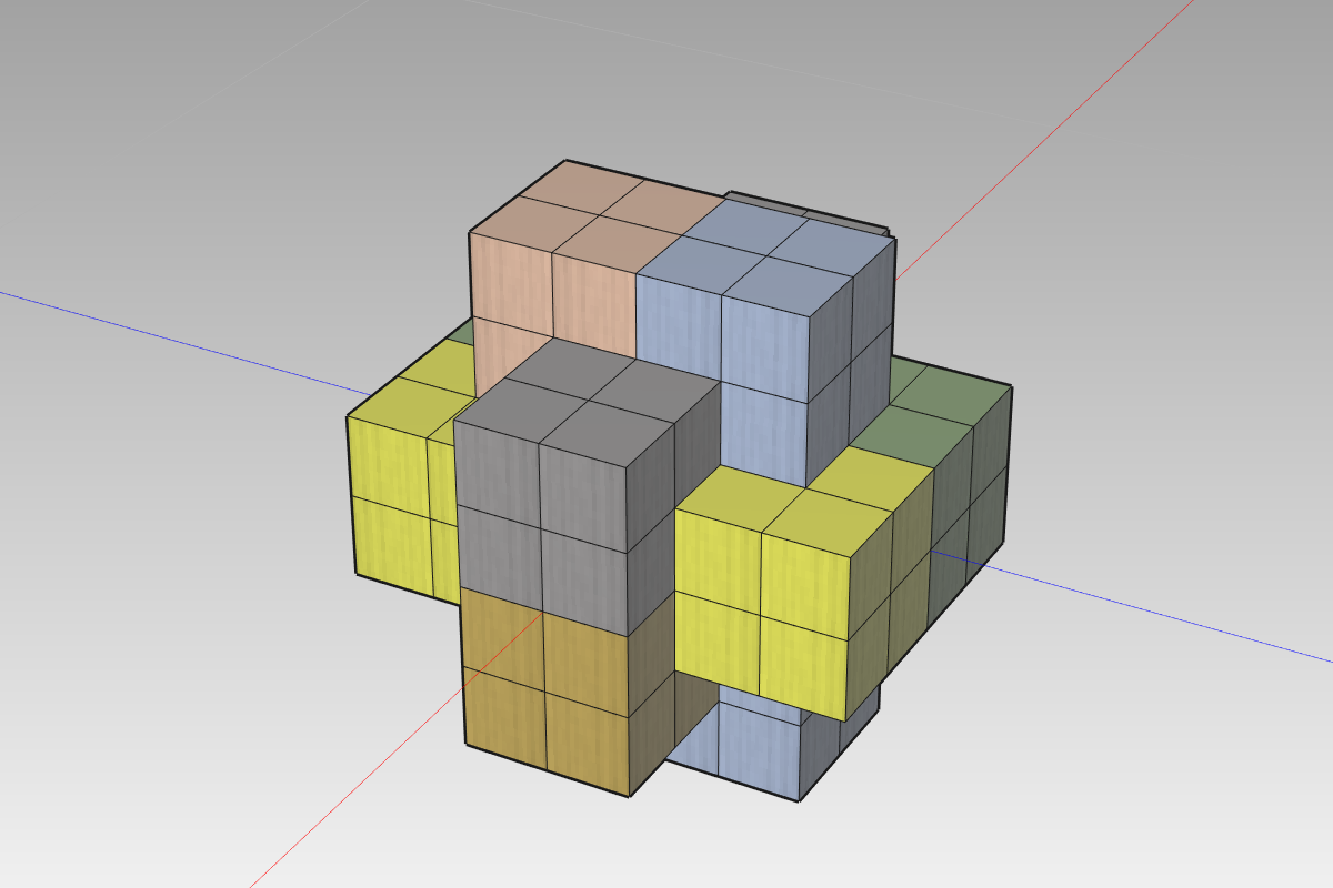6本組木パズル作成用モデル