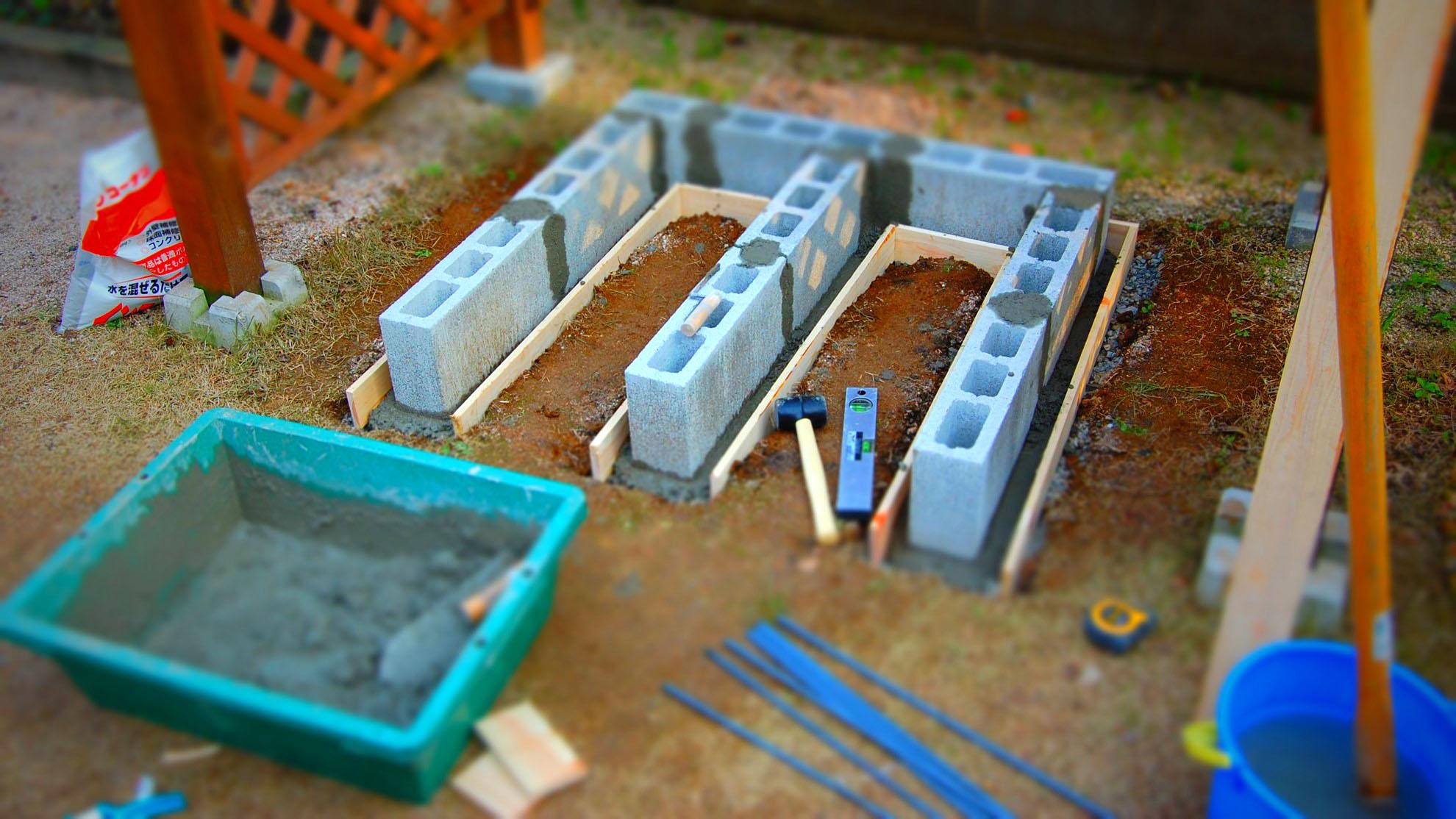 【庭造りDIY】コンクリートブロックを積んでみよう