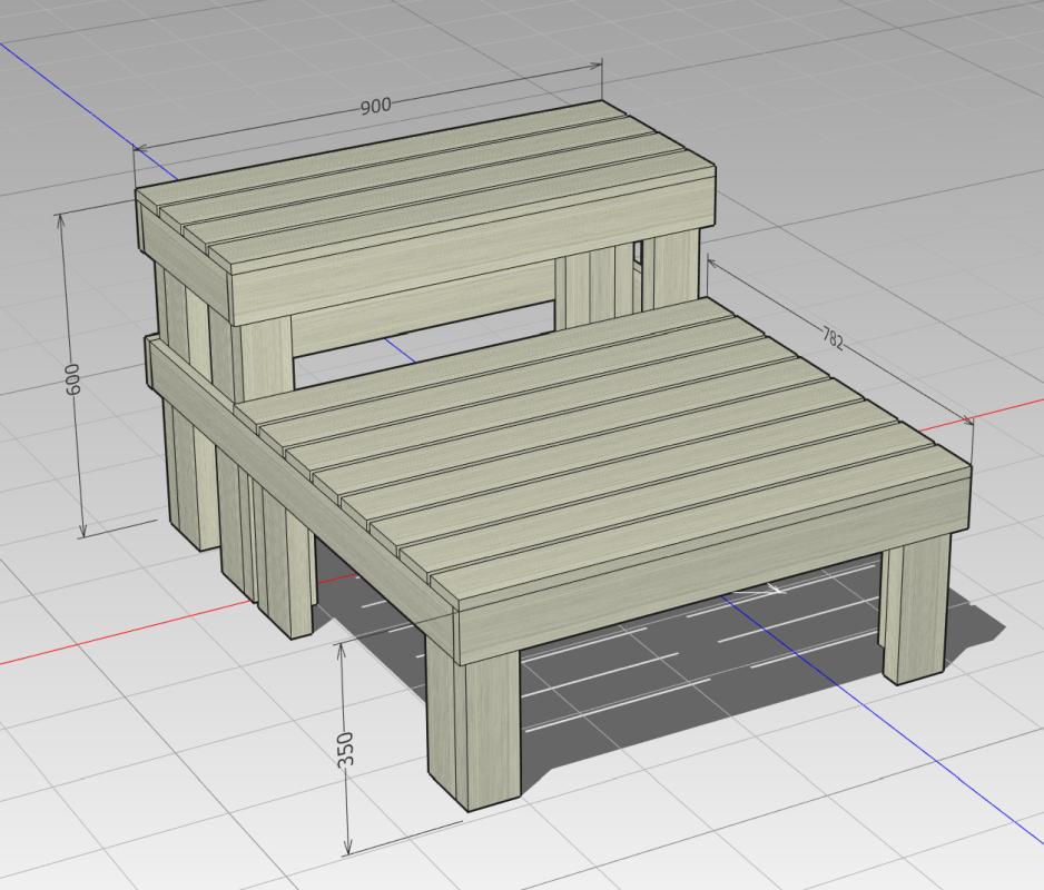 2×4と1×4材の階段兼縁台