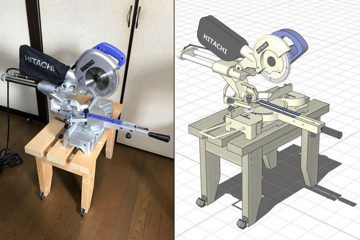 スライド丸のこ専用台と作業台
