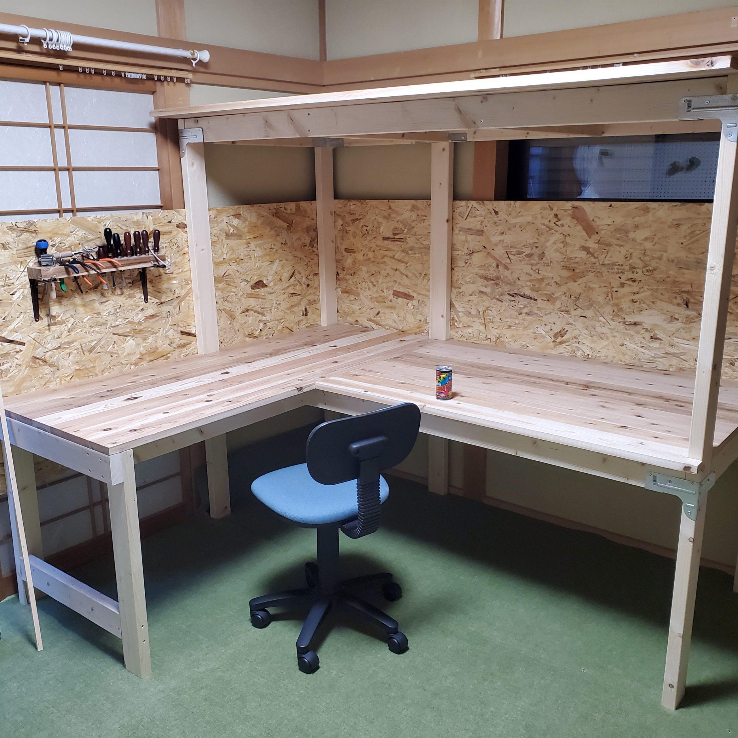 皮細工作業台(材料置き用天板付き)
